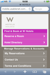 W (Starwood) mobile site