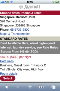 Marriott mobile site
