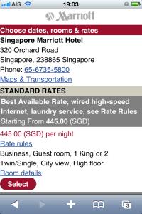 Marriott mobile site