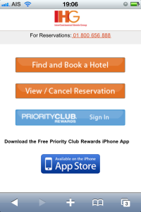 IHG mobile website
