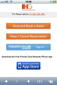 IHG mobile website